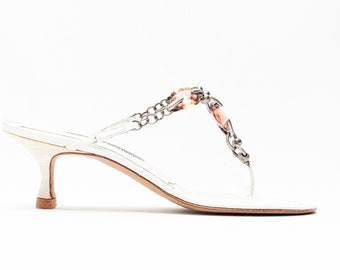 7ec35868e0 Manolo Blahnik Vintage Kitten Heel Thong Sandals in White Leather with  Silver Metal Chain and Rose Gold Gems • Size 38.5