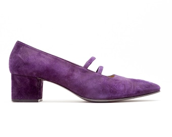 32e274aa404b3 Yves Saint Laurent • YSL • Vintage Shoes • Classic Mid Heel Mary Jane Pumps  in Purple Suede • Elastic Double Straps • Made in Italy • Size 9
