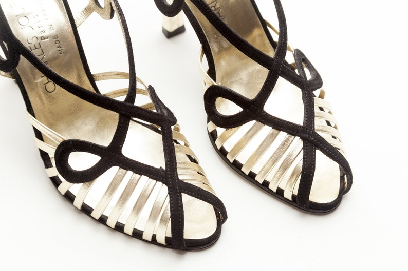 48dbb367083 Charles Jourdan Vintage Shoes Gold and Black Strappy