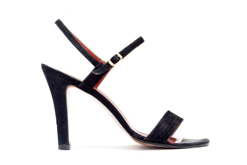 YSL Yves Saint Laurent Classic Black Suede Sandals Vintage  41ff70b29c93