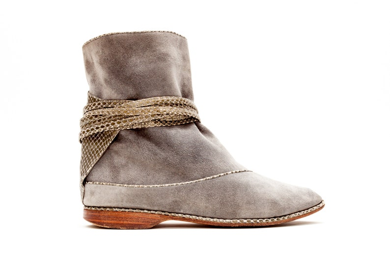 11711438fb7 Maud Frizon Paris // Vintage Shoes // Grey Blue Pull On Boots // Snake  Embossed Thin Straps Wrap Around Ankles // Vintage Boots // Size 7