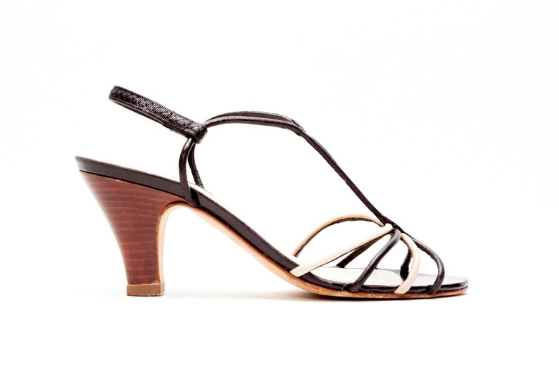 43912f01ef3 Delman • Vintage Shoes • T-Strap Sandals in Black Cream and Beige Leather •  Mid Stacked Leather Heel • Made in Italy • Size 6.5