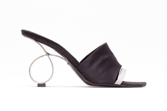 bae6bae9d87 Robert Clergerie Vintage Wedge Sandals with Metal Circle Heel • Size 5