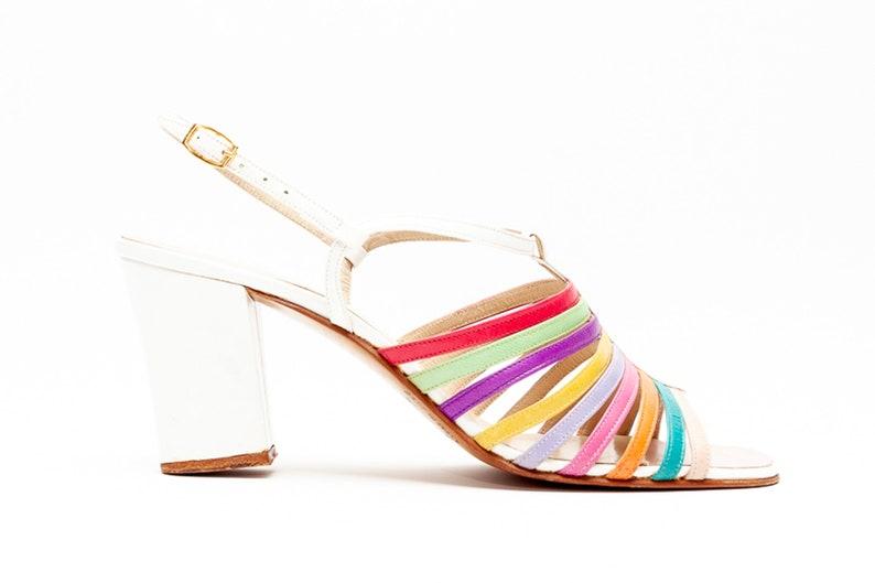 e5e193097557e Rosina Ferragamo Schiavone Vintage Slingback Sandals with Multi Color  Straps Block Heel • Size 7