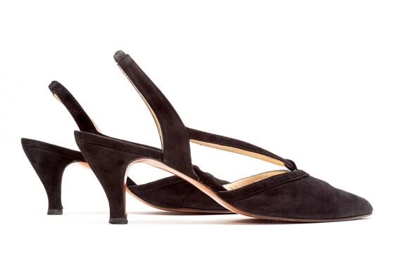 ca5eea7c84e91 Martinez Valero • Vintage Shoes • Slingback Pumps in Black Suede • Almond  Toe Mid Heel Pumps • 90s Vintage Shoes • Made in Spain • Size 9
