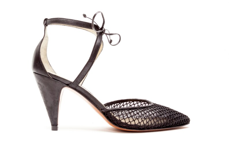 33d57b3f5 Casadei Vintage Shoes Lace Front Pumps with Open Air Mesh | Etsy