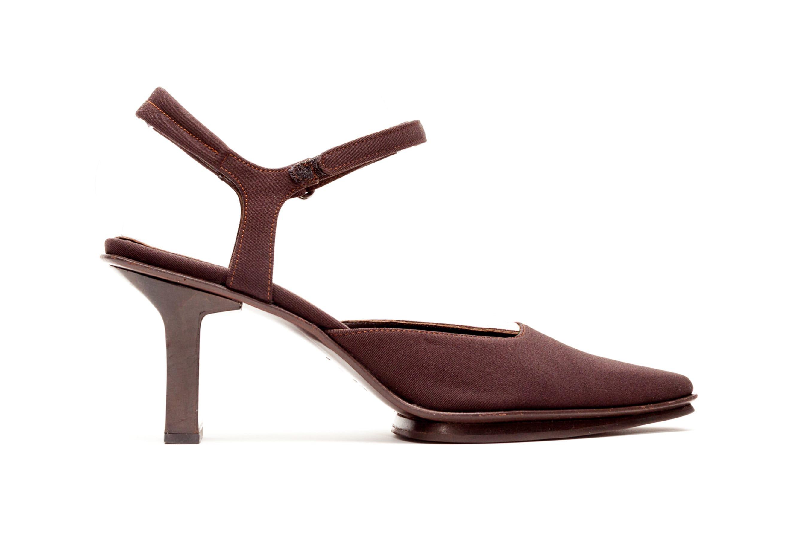 92957cb14 Prada Vintage Shoes Platform High Heels in Dark Brown Silk