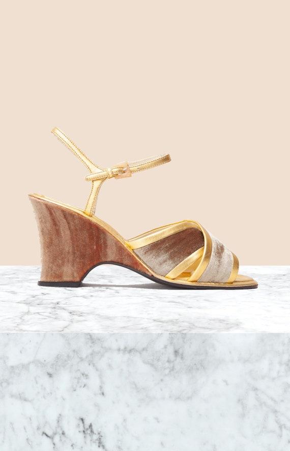 Prada Vinage Gold Velvet Wedges • Size 38.5