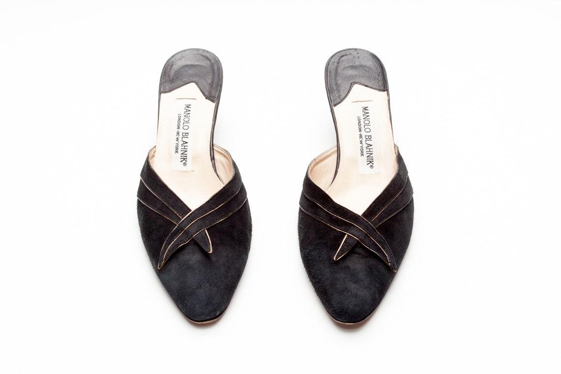 Manolo Blahnik Vintage Suede Mules Size 37.5 - Big Sale LAJZU