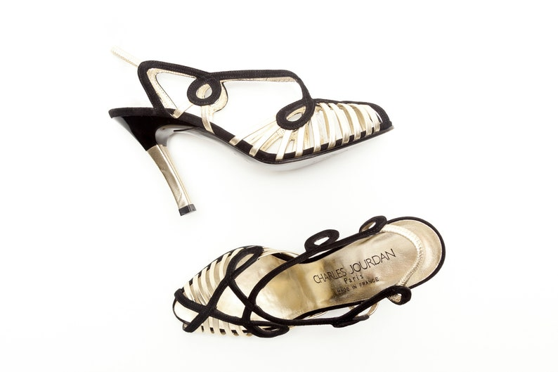 d42b8f6d2e196 Charles Jourdan • Vintage Shoes • Gold and Black Strappy Sandals • High  Heel Dress Evening Shoes • Made in France • Size 7