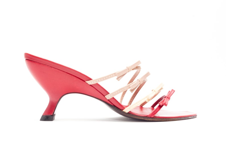 215ab8e2ca5 Miu Miu Vintage Wedges with Bow Straps Red Leather Strappy