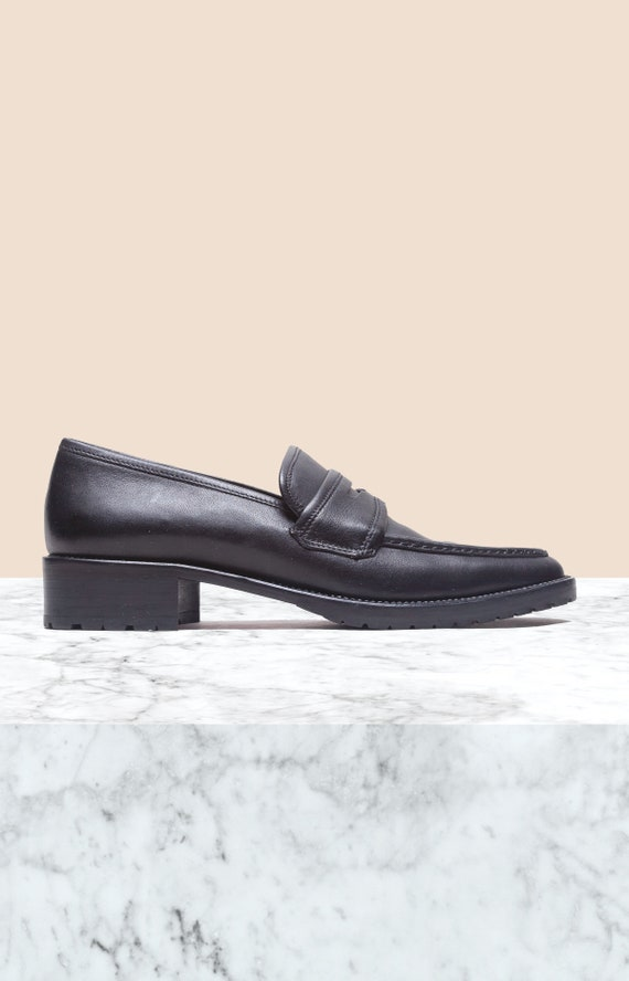 Coach Vintage Black Leather Penny Loafers • Size 6