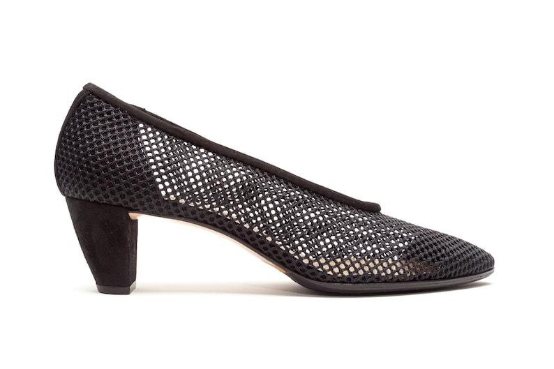 6b7dd544e5dca Walter Steiger Vintage Shoes • Mesh See Thru Transparent Pumps • Black Mid  Heel Pumps • Size 7