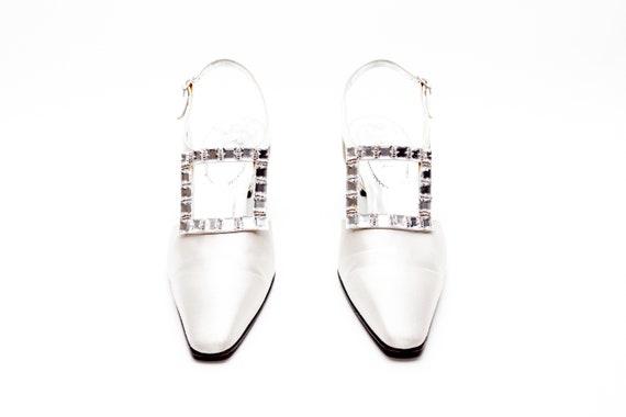 55fd9c56501 Casadei Luxe Vintage Shoes Rhinestone Buckle Pumps in Silk