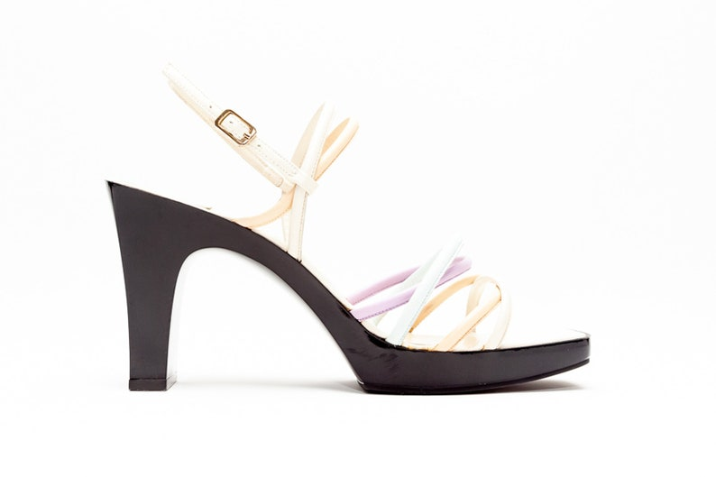 6683b83ce09d1 Charles Jourdan Vintage Platform Leather Strappy Sandals in Shades of  Pastel • Size 9