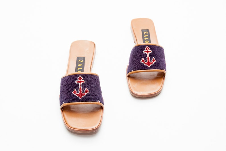 c5e84ff8078 Zalo Vintage Shoes Anchor Needlepoint and Leather Slide