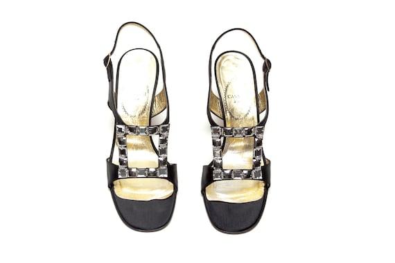 Casadei Luxe Vintage Rhinestone Embellished Sandals Size 7