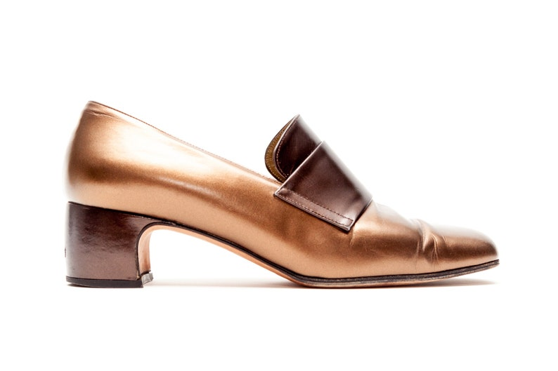 64a7511c148 Yves Saint Laurent • YSL • Vintage Shoes • Loafers with Low Heel in Bronze  Leather • Slip On YSL Loafers • Shoes • Made in Italy • Size 5.5