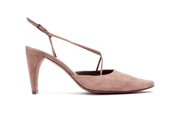 Stephane Kelian Vintage Pumps • Open Heel Pumps in Brown Suede • Criss Cross Mary Jane Heels • Made in France • Size 8