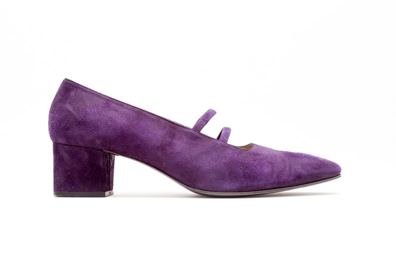 209873c7631 Yves Saint Laurent • YSL • Vintage Shoes • Classic Mid Heel Mary Jane Pumps  in Purple Suede • Elastic Double Straps • Made in Italy • Size 9