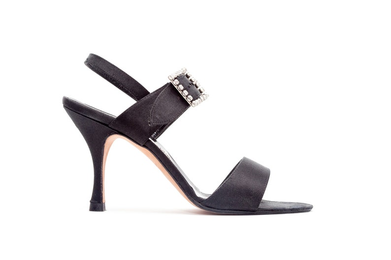 1023986d592a4 Manolo Blahnik • Vintage Sandals • Black Satin Sandals with Crystal Buckle  • High Heel Sandals • Rhinestone Buckle • Size 37