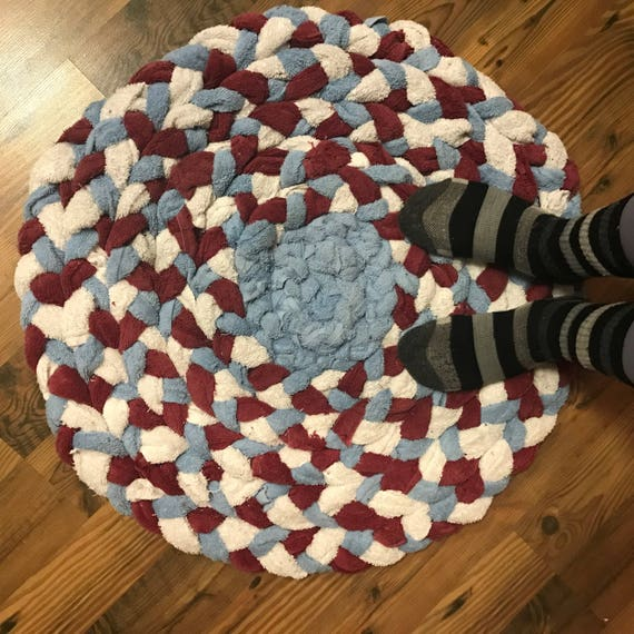 Upcycled Rag Rug Pet Bed Braided Rug Large Bath Mat Red