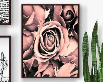 Flower Wall Art, Flower Print, Pink Flower Wall Art, Roses Wall Art, Roses Printable Art,Rosesl Wall Decor, Rose Art Print, Roses Artwork