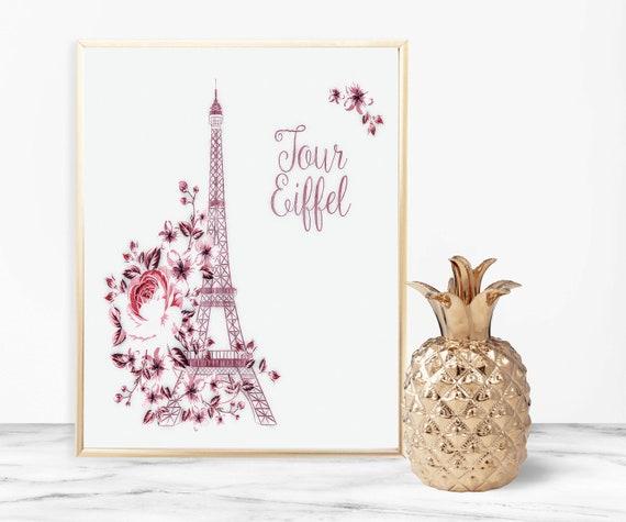 5703ff4e7a2 Pink Prints Eiffel Tower Wall Art Eiffel Tower Wall Decor