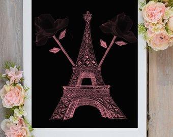Paris Wall Art, Eiffel Tower Decor, Pink Paris Wall, Paris Wall Decor,Pink Eiffel Tower,Paris Print, Eiffel Tower Wall Art, Paris Wall Decor