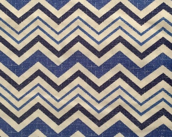 Waverly Fabric Remnant, Blue Cream Chevron, Home Decor