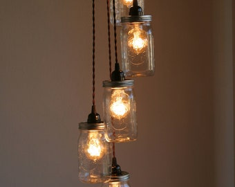5 ball brand quart size wide mouth mason jar pendant light