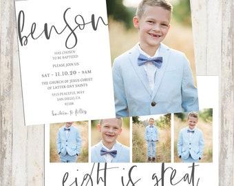 Baptism Invitation LDS Boy Invite Printable Customized Double Sided