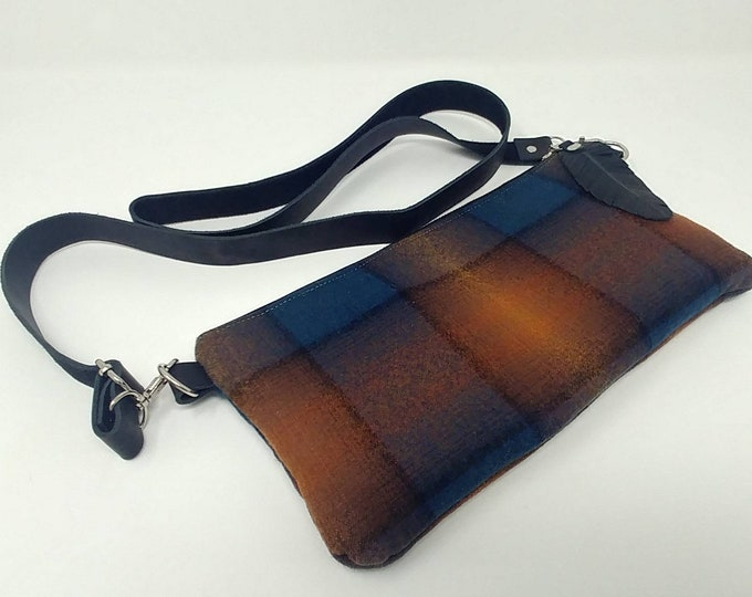 Pendleton wool and leather, cross body bag, fanny pack, hip hugger bag, hip bag