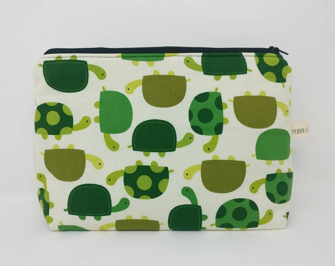 Box bottom bag, turtles, turtle print, makeup bag, cosmetic bag, gift for her, medium makeup bag, toiletry bag, travel bag, craft storage