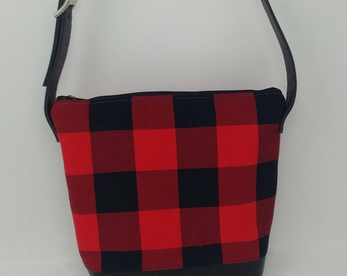 Plaid purse, black and red, buffalo check, shoulder bag, shoulder purse, handbag