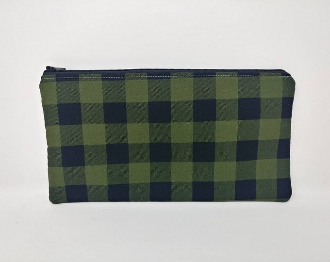 Plaid, buffalo check, Pencil case, craft storage, money bag, purse storage, zip pouch, zip bag