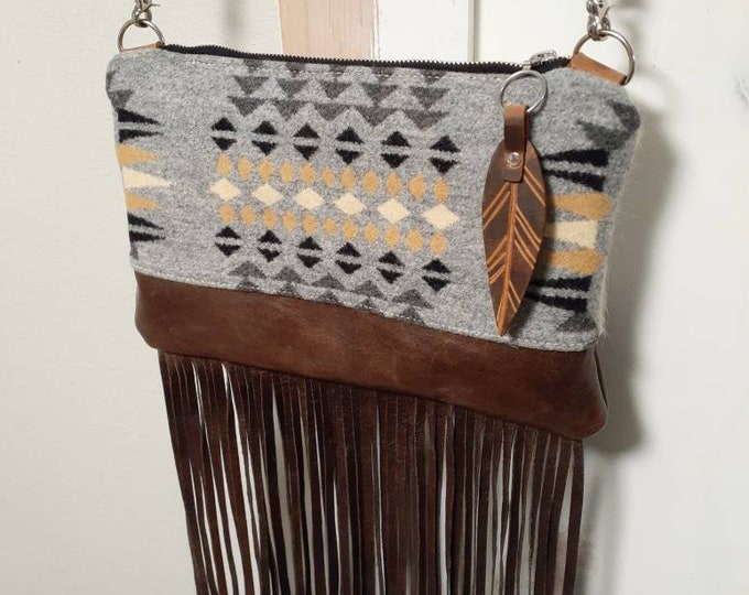 Crossbody purse made with Pendleton wool and hair on hide leather, leather purse, shoulder purse, western purse