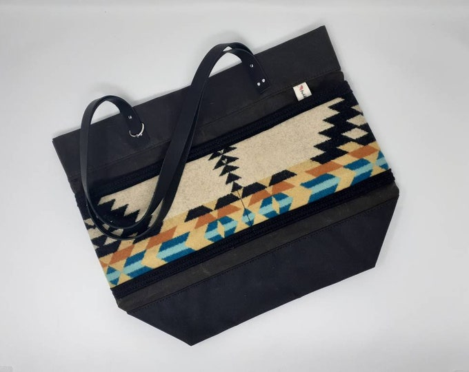 Everyday tote | Large tote bag | Made with Pendleton wool | Waxed canvas