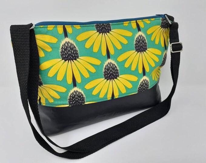 Adjustable strap bag, adjustable purse, purse, shoulder bag, cross body bag, floral print, modern flowers, flower purse, modern purse