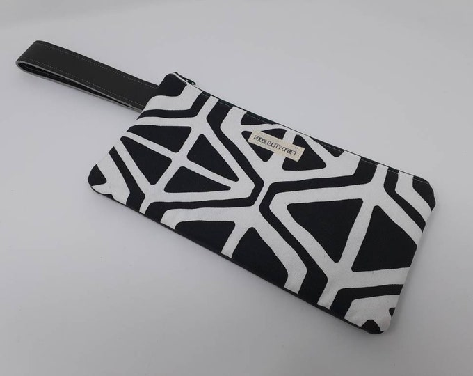 SALE** Clutch, black and white, leather, leather bag, wristlet