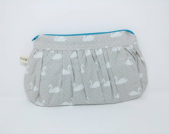 Rouched makeup bag, toiletry bag, zip pouch, essential oil bag. Custom order available.
