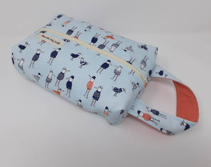 Seagull print, toiletry bag, zipper pouch, makeup bag, gift for her