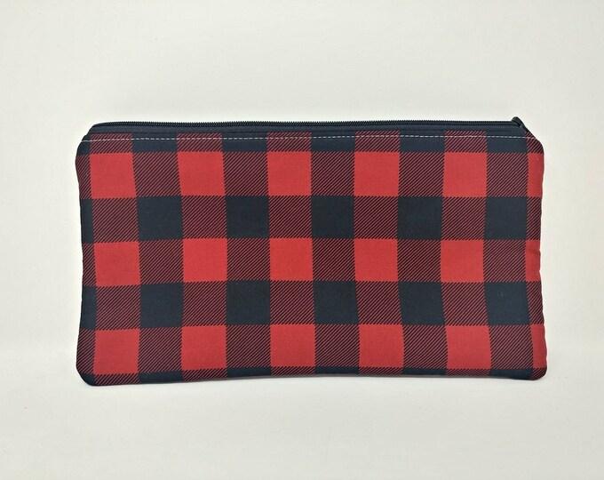 Plaid, buffalo check, Pencil case, craft storage, money bag, purse storage, zip pouch, zip bag