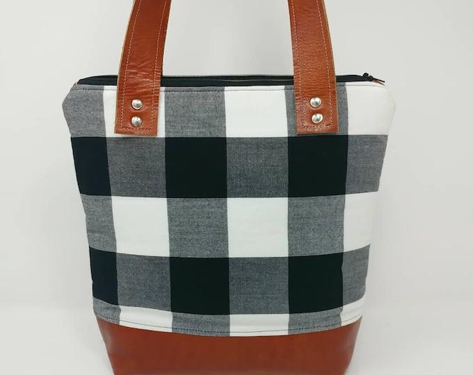 Plaid purse, black and white, buffalo check, shoulder bag, shoulder purse, handbag