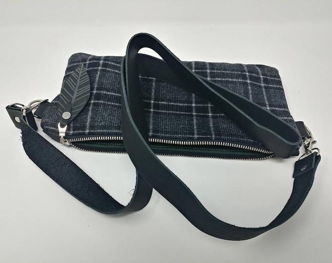 Pendleton wool and leather, cross body bag, fanny pack, hip hugger bag, hip bag