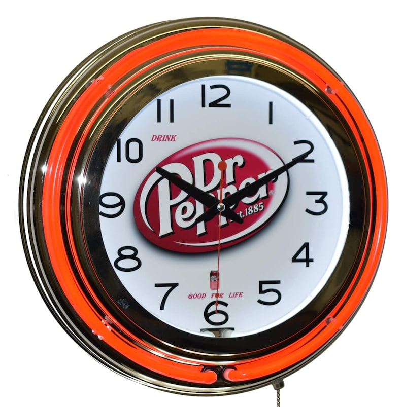 Drink Dr Pepper Good For Life 15 Red Double Neon Clock Etsy