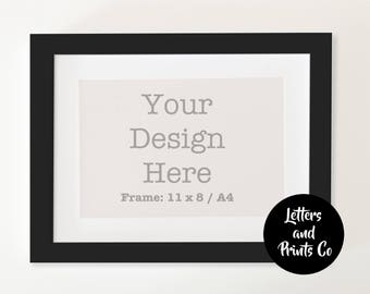 Simple Digital BLACK FRAME MOCKUP A4 | Styled Photography Poster | Single Mount, Framed Art, Instant Download, Black, Portrait, Landscape