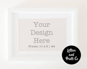 Simple Digital WHITE FRAME MOCKUP A4 | Styled Photography Poster | Single Mount, Framed Art, Instant Download, White, Portrait, Landscape