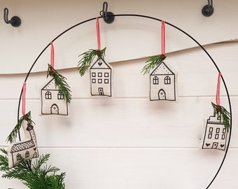 ITH Embroidery FilesSet 10x10 - 4 Christmas Village Pendants