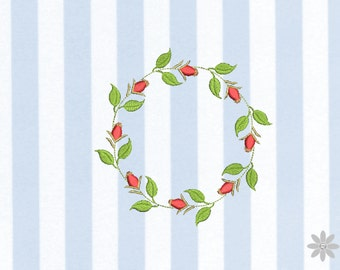 Embroidery file 10x10 - rosehip wreath